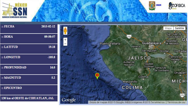 El sismo se registró a 119 kilómetros al Oeste de Cihuatlán, Jalisco y tuvo una intensidad de 5.2 grados en escala de Richter.