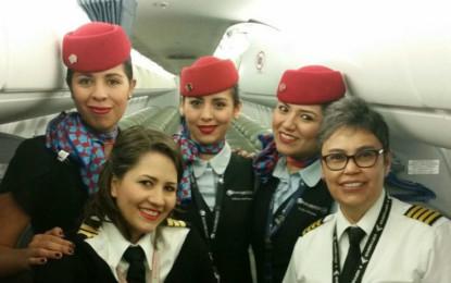 Aeroméxico realiza 9 vuelos operados por mujeres